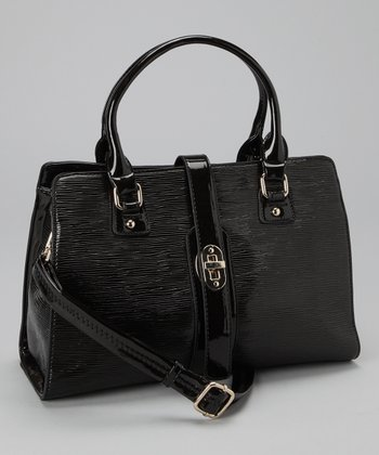 Black Turn Lock Satchel
