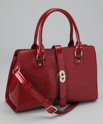 Burgundy Turn Lock Satchel