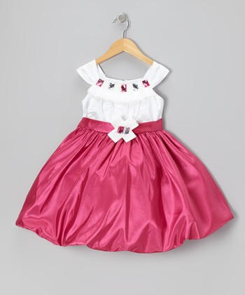 Fuchsia Jewel Bubble Dress - Toddler & Girls