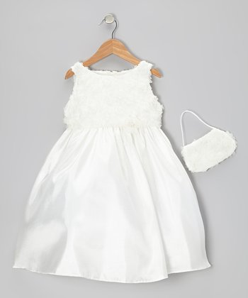 Ivory Organza Rosette Dress & Purse - Infant, Toddler & Girls