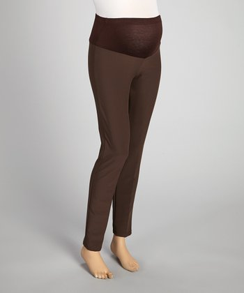 QT Maternity Brown Mid-Belly Maternity Pants - Women