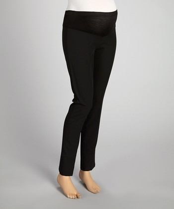 Black Mid-Belly Maternity Pants - Plus