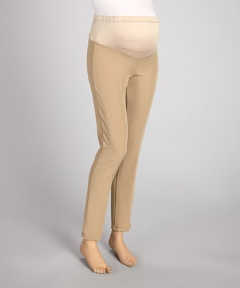 Khaki Mid-Belly Maternity Pants - Plus