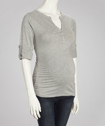 Heather Gray Button Ruched Maternity V-Neck Top - Women