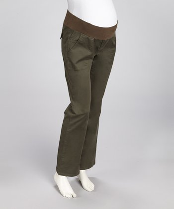 Olive Under-Belly Maternity Bootcut Pants - Women