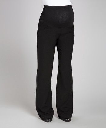 Black Over-Belly Maternity Trouser Pants - Women