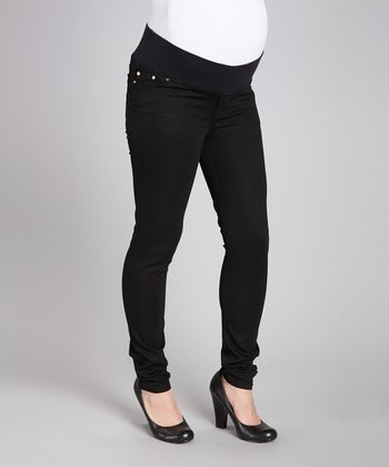Black Super-Soft Luxury Denim Maternity Skinny Jeans - Women