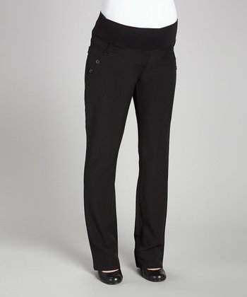 Black Under-Belly Maternity Trouser Pants - Women
