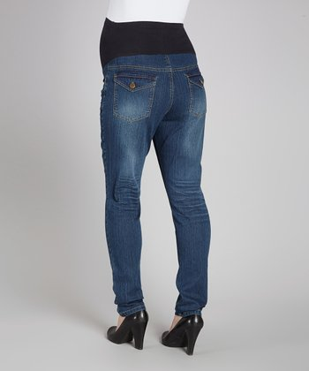 Dark Wash Over-Belly Maternity Skinny Jeans