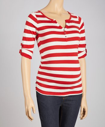 Rust & Oatmeal Stripe Ruched Maternity Top - Women