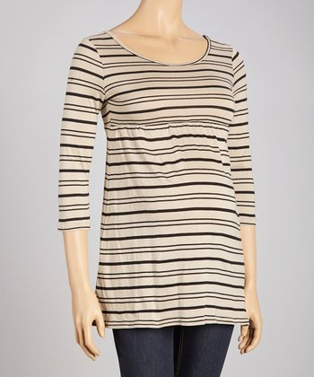 Black & Taupe Stripe Three-Quarter Sleeve Maternity Top - Women