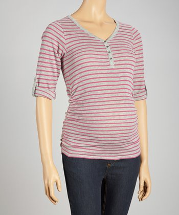 Gray & Pink Waffle Stripe Maternity Top - Women