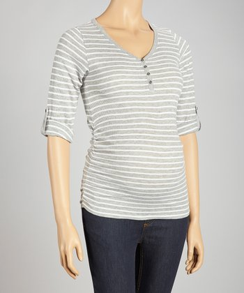Gray & White Waffle Stripe Maternity Top - Women