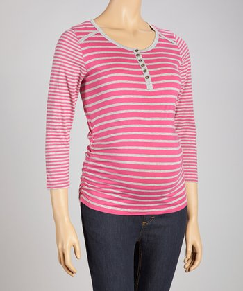 Magenta & Heather Stripe Three-Quarter Sleeve Maternity Top - Wom