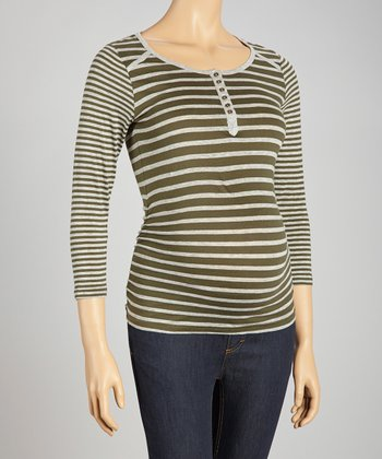 Olive & Heather Stripe Three-Quarter Sleeve Maternity Top - Women