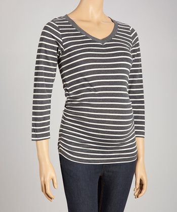 Charcoal & Oatmeal Stripe Maternity V-Neck Top - Women