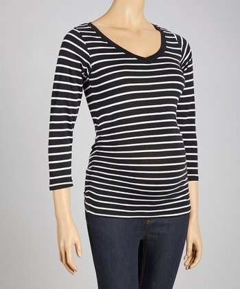 Black & White Stripe Maternity V-Neck Top