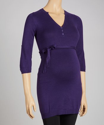 Purple Belted Maternity Sweater Dress - Women