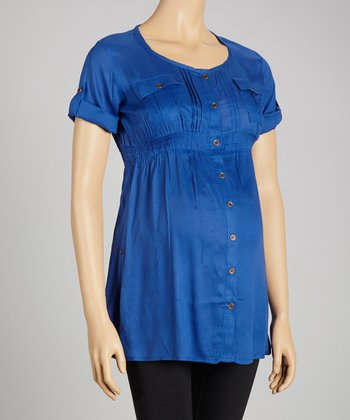 Blue Button-Up Maternity Tunic - Women
