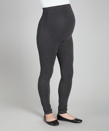 Charcoal Over-Belly Maternity Leggings - Women
