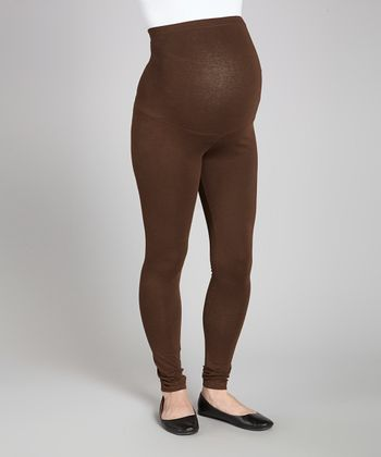 Brown Over-Belly Maternity Leggings - Women