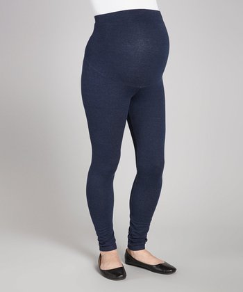 Denim Knit Over-Belly Maternity Leggings - Women