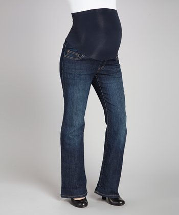 Rinse Wash Contrast Over-Belly Maternity Jeans - Petite
