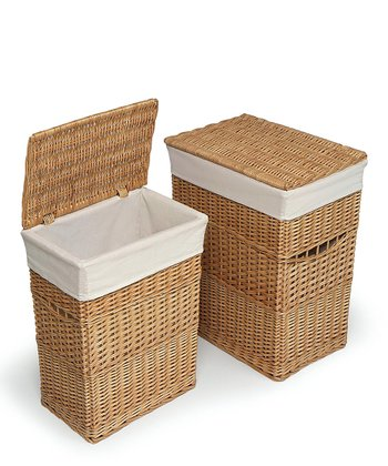 Natural Lined Hamper Set