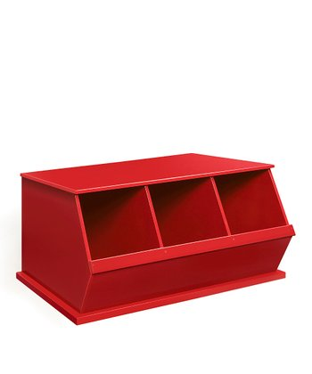 Red Three-Bin Storage Cubby
