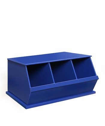 Blue Three-Bin Storage Cubby