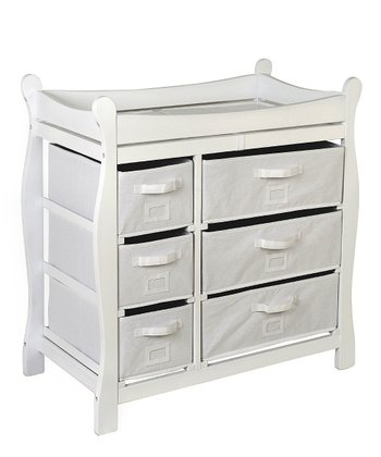 White Sleigh Six-Basket Changing Table