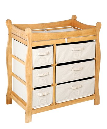 Natural Sleigh Six-Basket Changing Table