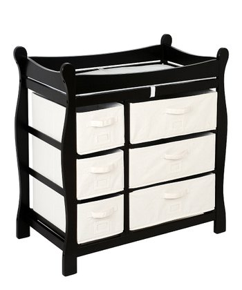 Black Sleigh Six-Basket Changing Table