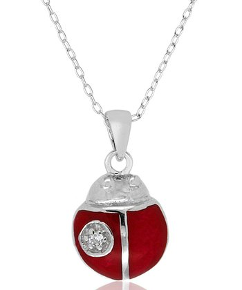 Cubic Zirconia & Sterling Silver Ladybug Pendant Necklace