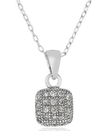 Cubic Zirconia & Sterling Silver Square Pendant Necklace