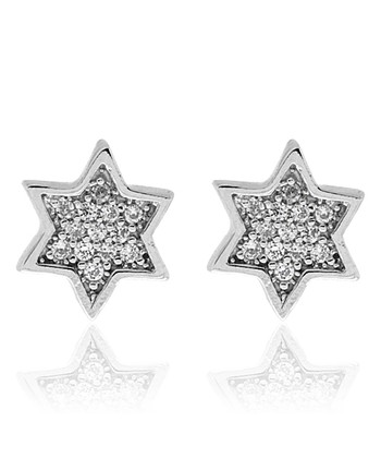 Cubic Zirconia & Sterling Silver Star of David Stud Earrings