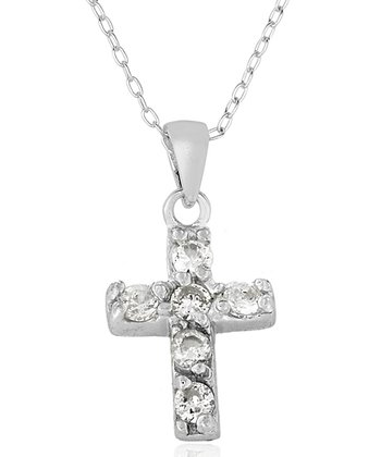 Cubic Zirconia & Sterling Silver Cross Pendant Necklace