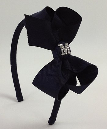 Navy Blue Initial Bow Headband