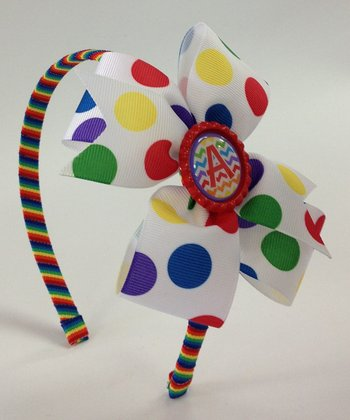 Rainbow Polka Dot Initial Bow Headband