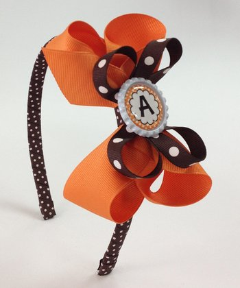 Orange & Brown Initial Bow Headband