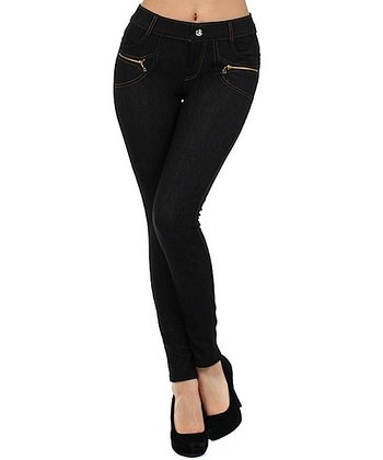 Black Zipper Jeggings