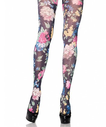 Black Floral Tights