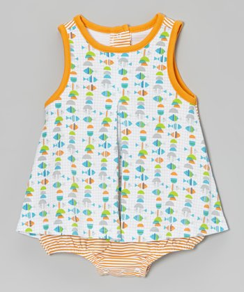 White Fish Skirted Bodysuit - Infant