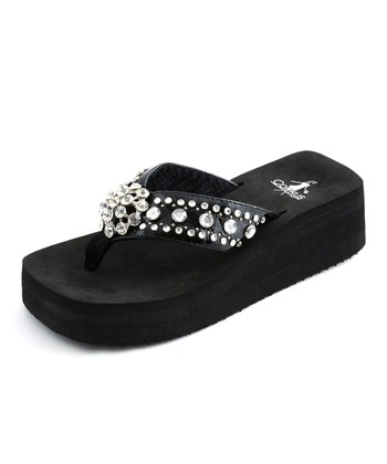 Black Los Angeles Thong Sandal
