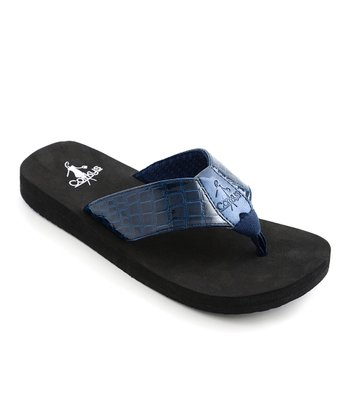 Navy Mandy Thong Sandal