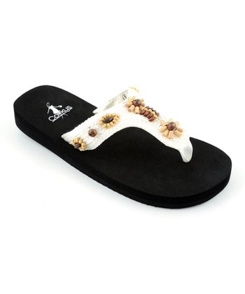 White Floral Crocheted Sandal