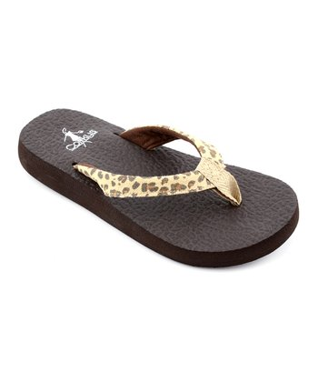 Brown Leopard Exercise Flip-Flop