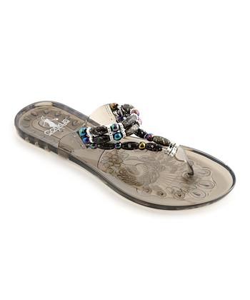 Black & Silver Jewel Anklet Sandal