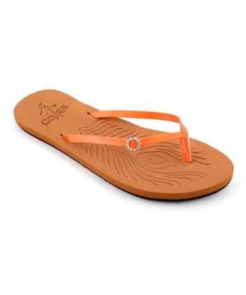 Orange Rhinestone Delta Sandal