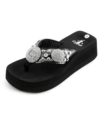 Black & Silver Goldie Thong Sandal